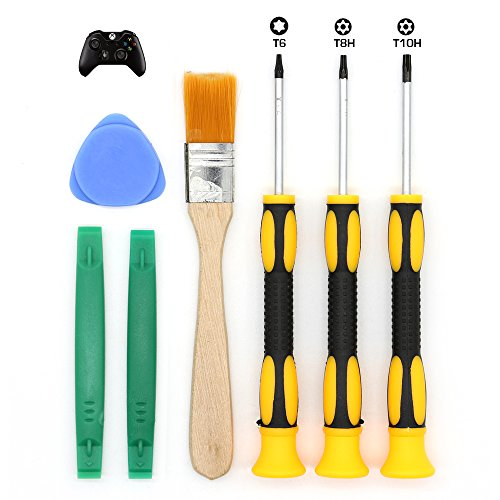 E-Durable T8 T6 T10 Screwdriver Set for Xbox One Xbox 360 Controller and PS3 PS4, Safe Prying Tool and Cleaning Brush (Xbox 360 Repair Kit Controller compare prices)