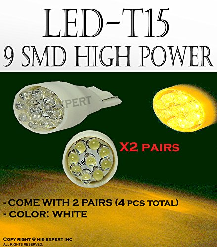 x4 White T15 906 579 901 908 9 LED Super Bright 9-SMD LED Parking Light Bulbs