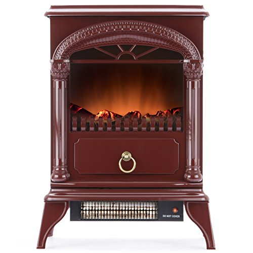 Hamilton Free Standing Electric Fireplace Stove - 22 Inch Red Portable Electric Fireplace with Realistic Fire and Vintage Logs. Adjustable 1500W 400 Square Feet Space Heater Fan (Log Space Heater compare prices)