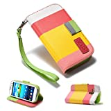 32nd® Multiple stripes book wallet PU leather case cover for Samsung Galaxy S3 MINI i8190 + screen protector, cloth and stylus - Hot Pink