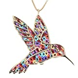 Gold Plated Sterling Silver Hummingbird Necklace Pendant Handmade Multi-Colored Polymer Clay Bird Jewelry, 16.5