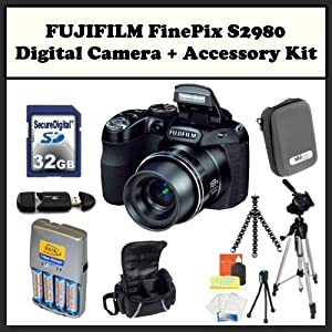 FUJIFILM FinePix S2980 + Accessory Kit. Includes: 32GB Memory Card, Memory Card Reader, 4 AA Rechargeable Batteries, Gripster Tripod, LCD Screen Protectors, Cleaning Kit & Much More!