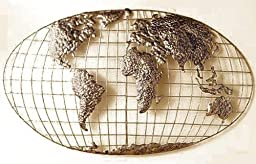 SEI Iron World Map Wall Art