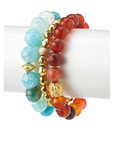 Sisco + Berluti Aqua Terra Agate, Golden & Carnelian Bracelet Stack