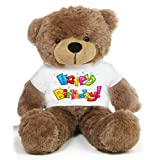 Brown 2 feet Big Teddy Bear wearing a colorful Happy Birthday T-shirt