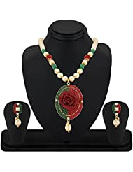 REEVA JAIPURI DESIGNER FLORAL FASCINATING COPPER PENDANT SET WITH PEARL BALL CHAIN