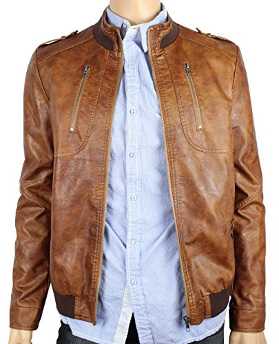 Olu Men'S Fashion Distressed Leather Zip-Up Classic Moto Rider Bomber Jacket L Brown