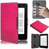 Swees Ultra Delgado Funda de cuero Amazon para el Nuevo Kindle Paperwhite con correa de mano elastica, Cubierta magnética con modo reposo + Protector de pantalla, color rosa