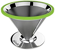 Bartelli Paperless Pour Over Coffee Dripper and Brewer - Permanent Reusable Stainless Steel Filter - Single Serve Cup or Small Pot