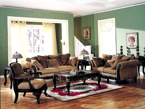 Picture of Acme 3pcs Bordeaux Floral Chenille Fabric Sofa, Loveseat & Chair Set (VF_LIVSET-AM5600) (Sofas & Loveseats)