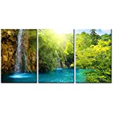Canvas Print Wall Art Painting For Home Decor Waterfall In Dawn With Sunrise Blue Lake Green Trees And The Golden Sun Rays Through The Forest 3 Pieces Panel Paintings Modern Giclee Stretched And Framed Artwork The Picture For Living Room Decoration Landscape Pictures Photo Prints On Canvas