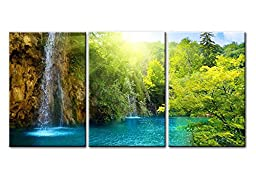 Canvas Print Wall Art Painting For Home Decor Waterfall In Dawn With Sunrise Blue Lake Green Trees And The Golden Sun Rays Through The Forest 3 Pieces Panel Paintings Modern Giclee Stretched And Framed Artwork The Picture For Living Room Decoration Landsc