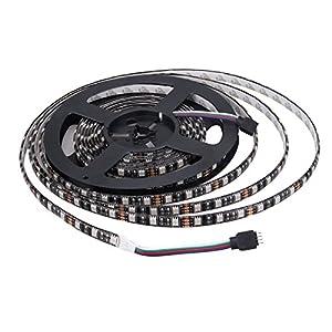 XKTTSUEERCRR Black PCB 5050 RGB SMD 16.4 Feet 5 Meter 300 LED Color Changing Flexible Waterproof Strip Lighting