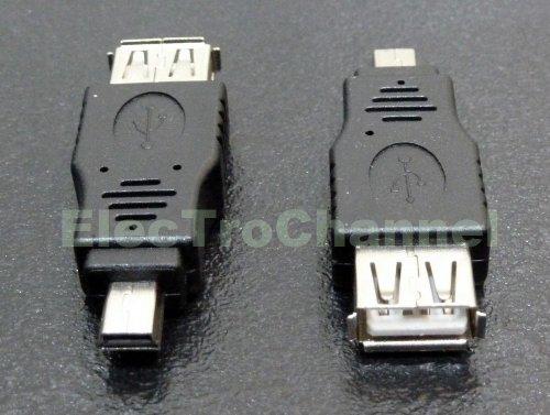 ElecTroChannel - USB Adapter Typ A Kupplung Buchse auf Mini USB Stecker Typ B 5-Polig , Adapter USB-A Buchse auf mini USB 5 pol / Stecker , Adapter Mini USB auf USB Stecker
