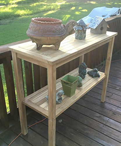Teak Outdoor Console Table & Garden Plant Potting Bench 48x20x40 Grea