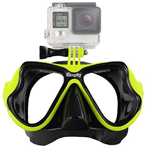 Ranphy GoPro Diving Mask, Dive Scuba Diving Mask, Swimming Goggles Mask with Tempered Glasses for GoPro Hero HD, Hero 4 Silver Black, Hero 3+, Hero 3, Hero 2, Hero 1, Sj4000, SJ5000 Camera