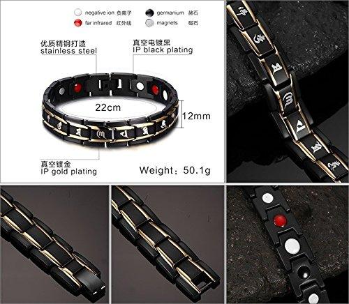 YSM braccialetto in acciaio inox 220mm Elegante Catena Braccialetto 12mm di larghezza, 4elementi con Buddhistic motto braccialetto equilibrio magnetico (Nero + oro)