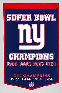 New York Giants 24 Inch x 36 Inch Wool Dynasty Banner by Winning Streak