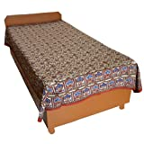 Block Printed Floral Bagru Print Design Cotton Flat Single Bed Sheet - B00GSSP9KE