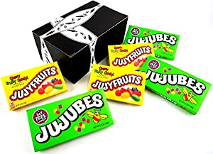 Heide Candies 2-Flavor Variety: Three 6 oz Theater Boxes of Jujyfruits and Three 6.5 oz Theater Boxes of Jujubes in a BlackTie Box (6 Items Total)