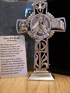 """Saint Elizabeth - 5"""" Fine Pewter Standing Cross (JC-6641-E)"""
