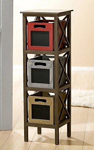 Estantería con 3 cajas Memo, 97 cm, marrón-rojo-gris-beige