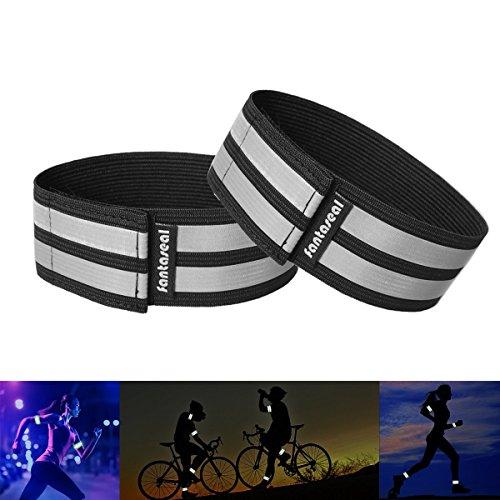 Fantaseal® Reflektorbänder Sportarmband Hi-Reflektiv Armband Sicherheit Reflexband (Schwarz, 2-Stücke, 31CM)