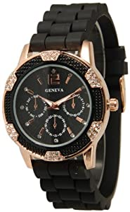 Women's Black Rose Gold Geneva Faux Chronograph Silicone Watch with Crystal Rhinestones Bezel