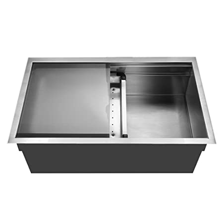 Houzer NVS-5200 Novus Single Bowl Sliding Dual Platform Stainless Steel Kitchen Sink