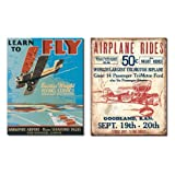 Tin Sign Set of 2 Fly Airplane Rides