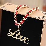 "Nice Buckeye ""LOVE"" Pendant Friendship Symbols Red Braided adjustable length leather bracelet"