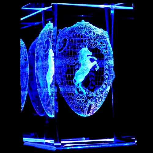 Unicorn Faberge Egg 3D Laser Etched Crystal + Rotating Display Light Base With 7 Multi Color Led'S