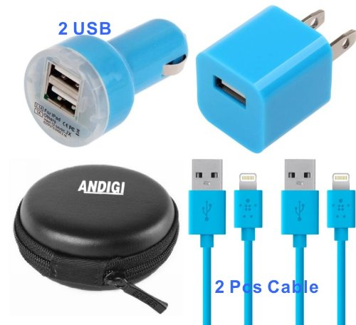 Andigi 4-In-1 Dual Usb Car Charger + 2 Usb Data Charging Cable + Wall Charger + Hard Case For Iphone 5 And 5S, Ipad4 And Air