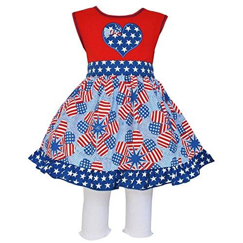 Annloren Little Girls Red Patriotic Heart Flags Dress Capri Boutique Outfit 2-3T ()