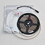 LEDwholesalers 16 Feet or 5 Meter Reel Warm White 3100k Flexible LED Ribbon with 300 3528 SMD Leds White Backing on PCB and Waterproof Gel and 3m Tape, 2089ww