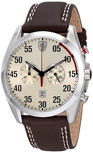 Ferrari analógico para hombre de cuarzo 0830174 D 50 pantalla marrón reloj