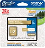 Brother Laminated Tape, 12mm (0.47 Inch), White on Satin Gold (TZeMQ835) - Retail Packaging