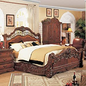 Frontega sleigh bedroom collection size king for Bedroom furniture amazon
