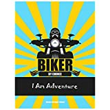 The Racoon BIKER BY CHOICE - I AM ADVENTURE Poster Laminated Glossy Finish, Large (36 X 24 In)
