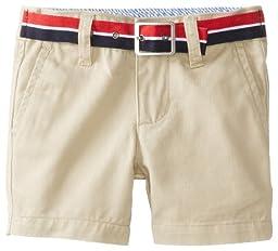 Tommy Hilfiger Baby Boys\' Charlie Flat Front Short, Travel Khaki, 3 Months