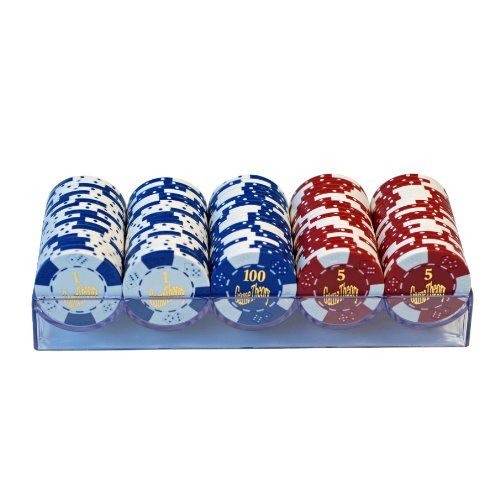 Wood Expressions Stripe 100 Clay Poker Chips with Poker Suits in Lucite Box, Red/White/Blue