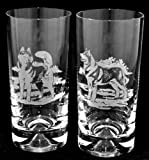 Siberian Husky Dog Tall Tumbler Highball Glasses (pair) Dog Gift