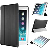 EasyAcc Ultra Slim iPad Air 2 Smart Case Cover with Stand / Auto Sleep Wake-up for Apple iPad Air 2/ iPad 6 (Top Premium PU Leather, Folded Cover Design, Black)