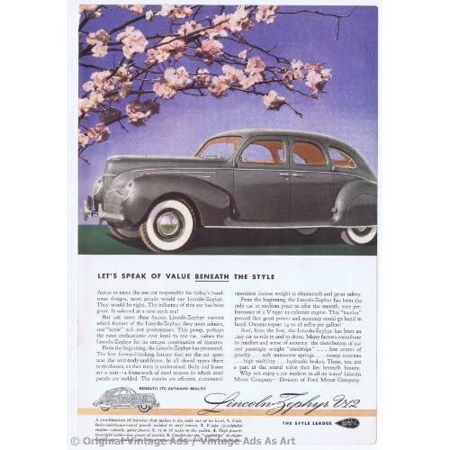1939 Lincoln Zephyr V 12 Gray under Cherry Blossom Tree Vintage Ad