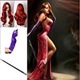 TENGS Jessica Rabbit Cosplay Set :Long Wavy Copper Red Wig, Purple Gloves & Props Cigarette Holder