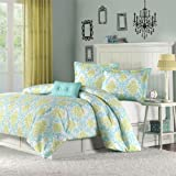 51 tDVl7deL. SL160  Katelyn Printed Comforter Set Size: Twin/Twin Extra Long, Color: Teal