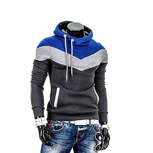 Eleery-Felpa con cappuccio, da uomo, calda Felpa con cappuccio, chiusura a cordoncino-Giacca felpa Outwear Grigio M