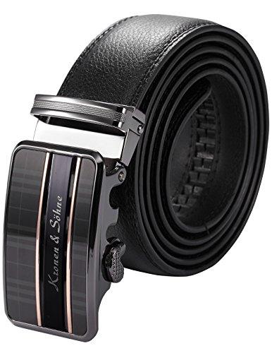 KS KB065-Cintura da Uomo,in Pelle Nero,Fibbia Automatica,Larghezza:3,5cm/Lunghezza:120cm