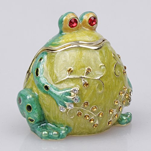 Green Belly Frog Jewelry Box with Czech Crystals Metal Trinket Box (Frog Crystal compare prices)