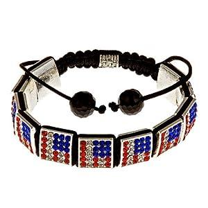 "Royal Diamond Patriotic ""Stars and Stripes"" Square Crystal Shamballa-Style Hip Hop Bracelet"